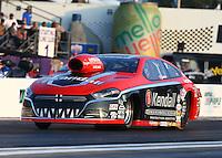 Apr 25, 2014; Baytown, TX, USA; NHRA pro stock driver V. Gaines during qualifying for the Spring Nationals at Royal Purple Raceway. Mandatory Credit: Mark J. Rebilas-