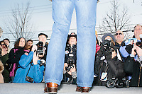 Photographers Keiko Hiromi (center) and Rick Friedman (right) take pictures as Texas senator and Republican presidential candidate Ted Cruz speaks at a Second Amendment Rally outside Granite State Indoor Range in Hudson, New Hampshire.