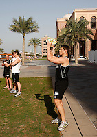 Photo: Richard Lane/Richard Lane Photography. London Wasps in Abu Dhabi for their LV= Cup game against Harlequins on 30th January 2011. 30/01/2011. Wasps' Tom Lindsay carries out final preparations for the game during the walk though at the Emirates Palace Hotel.
