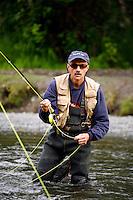 Fishing on the Russian River, Kenai Peninsula, Chugach National Forest, Alaska.