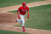 Philadelphia Phillies Nick Maton (67) runs to first base after hitting a home run during a Major League Spring Training game against the Baltimore Orioles on March 12, 2021 at the Ed Smith Stadium in Sarasota, Florida.  (Mike Janes/Four Seam Images)