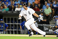 Chicago White Sox first baseman Jose Abreu (79) at bat during a game against the Toronto Blue Jays on August 15, 2014 at U.S. Cellular Field in Chicago, Illinois.  Chicago defeated Toronto 11-5.  (Mike Janes/Four Seam Images)