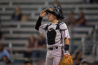 Lake Elsinore Storm catcher Luis Torrens (3) during a California League game against the Modesto Nuts at John Thurman Field on May 11, 2018 in Modesto, California. Modesto defeated Lake Elsinore 3-1. (Zachary Lucy/Four Seam Images)
