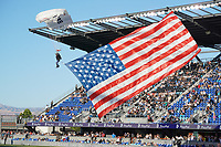 SAN JOSE, CA - JUNE 26: Skydivers before a game between Los Angeles Galaxy and San Jose Earthquakes at PayPal Park on June 26, 2021 in San Jose, California.