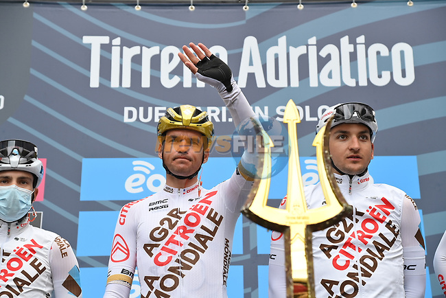 Olympic Champion Greg Van Avermaet (BEL) and AG2R Citroen Team at sign on before the start of Stage 2 of Tirreno-Adriatico Eolo 2021, running 202km from Camaiore to Chiusdino, Italy. 11th March 2021. <br /> Photo: LaPresse/Gian Mattia D'Alberto | Cyclefile<br /> <br /> All photos usage must carry mandatory copyright credit (© Cyclefile | LaPresse/Gian Mattia D'Alberto)