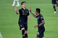 LOS ANGELES, CA - SEPTEMBER 13: Mark-Anthony Kaye #14 of LAFC scores a goal and celebrates with team mate Francisco Ginella #8 during a game between Portland Timbers and Los Angeles FC at Banc of California stadium on September 13, 2020 in Los Angeles, California.