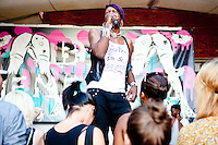 """Big Freedia performs during her concert at MOMA's PS 1 venue in Queens, NY, part of the annual """"Warm Up"""" music series on August 28, 2010.  <br /> <br /> Big Freedia, from New Orleans, is a main figure in the """"Sissy Bounce"""" music scene.  """"Sissy Bounce"""" is a subset of """"Bounce"""", a type of rap music that originated in New Orleans in the early 1990s.  Bounce is distinctive in its quick, highly danceable beat, frequent call and response, and typically sexual lyrics.  """"Sissy bounce"""" is distinctive not in any musical way from """"bounce"""" but in the performers who are homosexual men."""