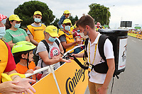 6th July 2021, Albertville, Auvergne-Rhône-Alpes, France; TOUR DE FRANCE 2021- UCI Cycling World Tour. Stage 10 from Albertville to Valence on the 6th of July 2021, Hand gel to avoid Covid-19 is distributed to the crowd.