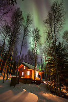 Man sits on the frong porth of a log cabin watching the northern lights above the boreal forest in Fairbanks, Alaska.