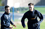 St Johnstone Training….  McDiarmid Park…26.10.18<br />Scott Tanser pictured with Tristan Nydam during training this morning ahead of tomorrow's game against St Mirren.<br />Picture by Graeme Hart.<br />Copyright Perthshire Picture Agency<br />Tel: 01738 623350  Mobile: 07990 594431