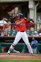 Erie SeaWolves right fielder Steven Moya (41) at bat during a game against the Hartford Yard Goats on August 6, 2017 at UPMC Park in Erie, Pennsylvania.  Erie defeated Hartford 9-5.  (Mike Janes/Four Seam Images)