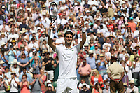 Novak Djokovic (SRB) celebrates after winning his match against Philipp Kohlschreiber (GER) in their Gentleman's Singles First Round match<br /> <br /> Photographer Rob Newell/CameraSport<br /> <br /> Wimbledon Lawn Tennis Championships - Day 1 - Monday 1st July 2019 -  All England Lawn Tennis and Croquet Club - Wimbledon - London - England<br /> <br /> World Copyright © 2019 CameraSport. All rights reserved. 43 Linden Ave. Countesthorpe. Leicester. England. LE8 5PG - Tel: +44 (0) 116 277 4147 - admin@camerasport.com - www.camerasport.com