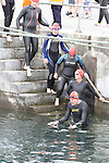 Swimmers enter the water at the Green Buoy 1KM Swim in Clogherhead...(Photo credit should read Jenny Matthews/NEWSFILE)...