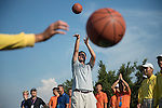 Yao Ming plays basketball at the 17th hole during the World Celebrity Pro-Am 2016 Mission Hills China Golf Tournament on 22 October 2016, in Haikou, China. Photo by Weixiang Lim / Power Sport Images