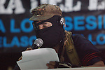 Zapatista rebel Subcomandante Marcos gives a press conference to free mass media May 24, 2014 in the Zapatista stronghold of La Realidad village in southern state of Chiapas. Hundreds of zapatista supporters pay homage May 24, 2014, to their comrade Galeano, assassinated by paramilitary forces on May 2, 2014 in La Realidad village in southern state of Chiapas. Zapatista rebel leaders comandante Tacho and subcomandante Marcos appeared during the homage along with thousands of Zapatistas bases de apoyo and hundreds of people from all over Mexico. Photo by Heriberto Rodriguez
