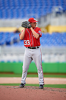 Washington Nationals pitcher Andrew Istler (33) gets ready to deliver a pitch during a Florida Instructional League game against the Miami Marlins on September 26, 2018 at the Marlins Park in Miami, Florida.  (Mike Janes/Four Seam Images)