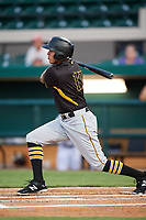 Bradenton Marauders right fielder Bligh Madris (17) follows through on a swing during the second game of a doubleheader against the Lakeland Flying Tigers on April 11, 2018 at Publix Field at Joker Marchant Stadium in Lakeland, Florida.  Bradenton defeated Lakeland 1-0.  (Mike Janes/Four Seam Images)