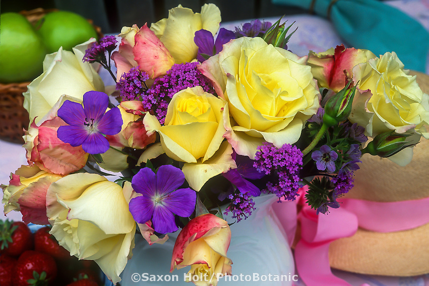 Rose 'Summer Fashion' in rose bouquet with Campanula and Verbena flowers