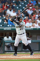 Jesus Sucre (40) of the Norfolk Tides at bat against the Charlotte Knights at BB&T BallPark on July 5, 2019 in Charlotte, North Carolina. The game was suspended in the bottom of the first inning due to wet grounds. (Brian Westerholt/Four Seam Images)