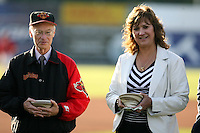 June 18th 2008:  Rochester Red Wings Chairman of the Board Naomi Silver and team president Gary Larder during opening ceremonies for the Batavia Muckdogs at Dwyer Stadium in Batavia, NY.  Photo by:  Mike Janes/Four Seam Images