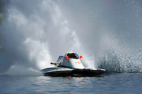 30-31 May, 2009 Eastwood Park Lake, Dayton, Ohio USA .A racing hydroplane (boat) with an enclosed safety cockpit in action..©F. Peirce Williams 2009 USA.F.Peirce Williams.photography.ref: RAW (.NEF) File Available