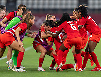 KASHIMA, JAPAN - AUGUST 2: Jessie Flemming #17 of Canada celebrates her goal during a game between Canada and USWNT at Kashima Soccer Stadium on August 2, 2021 in Kashima, Japan.