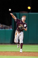 Mississippi State Bulldog shortstop Adam Frazier #12 throws the ball to first against the LSU Tigers during the NCAA baseball game on March 16, 2012 at Alex Box Stadium in Baton Rouge, Louisiana. LSU defeated Mississippi State 3-2 in 10 innings. (Andrew Woolley / Four Seam Images)..