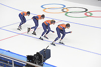 OLYMPIC GAMES: PYEONGCHANG: 17-02-2018, Gangneung Oval, Long Track, Training session, Patrick Roest (NED), Sven Kramer (NED), Koen Verweij (NED), Jan Blokhuijsen (NED), ©photo Martin de Jong