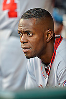 24 July 2012: Washington Nationals outfielder Roger Bernadina in the dugout during a game against the New York Mets at Citi Field in Flushing, NY. The Nationals defeated the Mets 5-2 to take the second game of their 3-game series. Mandatory Credit: Ed Wolfstein Photo
