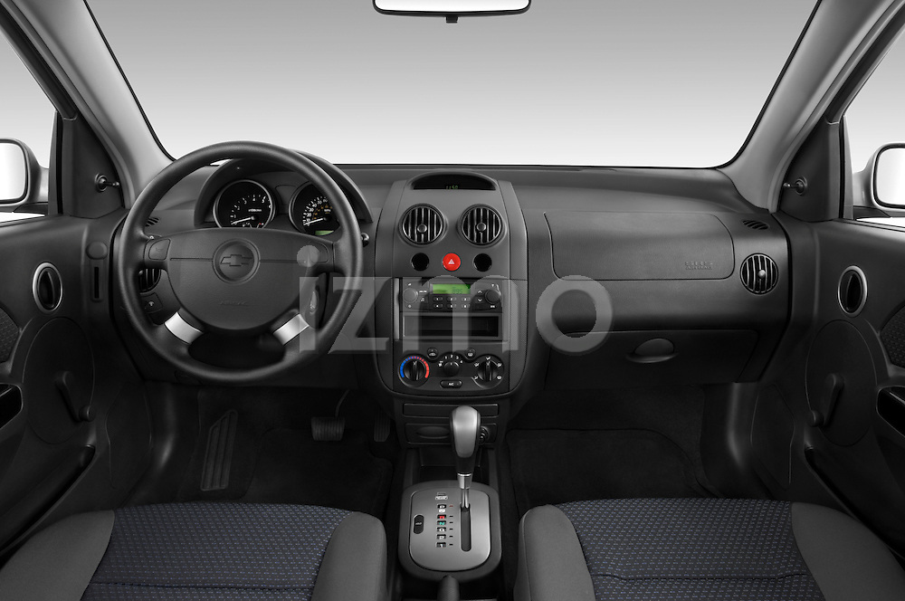 Straight dashboard view of a 2008 Chevrolet Aveo 5 LS.