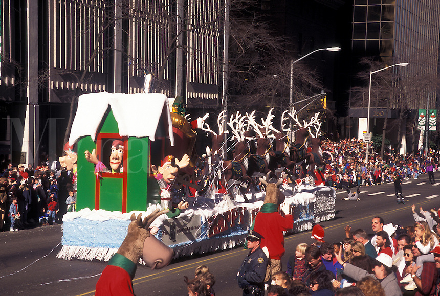 parade, Christmas, Atlanta, GA, Georgia, Santa and reindeer float in the Egleston Children's Hospital Christmas Parade in downtown Atlanta.