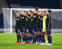 21st September 2021; Hampden Park, Glasgow, Scotland: FIFA Womens World Cup qualifying, Scotland versus Faroe Islands; Scotland players line up for the national anthem