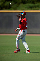 Philadelphia Phillies Jesus Alastre (31) waits to catch a ball during a Florida Instructional League game against the New York Yankees on October 11, 2018 at Yankee Complex in Tampa, Florida.  (Mike Janes/Four Seam Images)