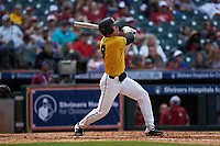 Seth Halvorsen (8) of the Missouri Tigers follows through on his swing against the Oklahoma Sooners in game four of the 2020 Shriners Hospitals for Children College Classic at Minute Maid Park on February 29, 2020 in Houston, Texas. The Tigers defeated the Sooners 8-7. (Brian Westerholt/Four Seam Images)