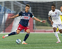 FOXBOROUGH, MA - AUGUST 7: Collin Verfurth #35 of New England Revolution II passes the ball during a game between Orlando City B and New England Revolution II at Gillette Stadium on August 7, 2020 in Foxborough, Massachusetts.