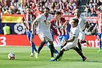 Atletico de Madrid's Kevin Gameiro and Sevilla's David Soria during La Liga match between Atletico de Madrid and Sevilla CF at Vicente Calderon Stadium in Madrid, Spain. March 19, 2017. (ALTERPHOTOS/BorjaB.Hojas)