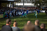 First-half action at the UTS Stadium during the FA Cup fourth qualifying round match between Dunston UTS (in blue) and their local rivals Gateshead. Founded in 1975, the home team were formerly known as Dunston Federation. The visitors won 4-0 watched by a record crowd of 2,500.