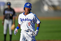 Errol Robinson (9) of the Ogden Raptors rounds the bases after hitting a home run against the Missoula Osprey in Pioneer League action at Lindquist Field on July 13, 2016 in Ogden, Utah. Ogden defeated Missoula 8-2. (Stephen Smith/Four Seam Images)