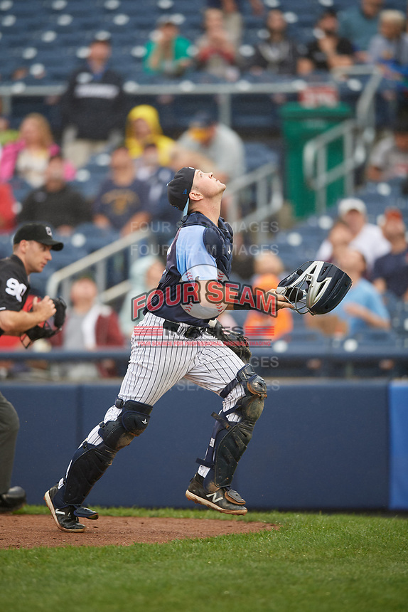 Trenton Thunder catcher Ryan Lidge (43) tracks a pop up during a game against the New Hampshire Fisher Cats on August 19, 2018 at ARM & HAMMER Park in Trenton, New Jersey.  New Hampshire defeated Trenton 12-1.  (Mike Janes/Four Seam Images)