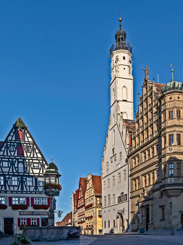 The Rathaus and Rathaus tower of Rothenburg in early morning just after sunrise