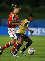 Ivana Rudelic (GER) and Crystal Dunn (USA). FIFA U17 Women's World Cup, Semi Final, Germany v USA, QEII Stadium, Christchurch, New Zealand, Thursday 13 November 2008. Photo: Renee McKay/PHOTOSPORT