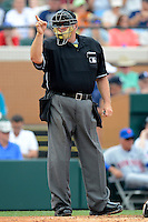 Home plate umpire Jerry Layne during a spring training game between the Detroit Tigers and New York Mets at Joker Marchant Stadium on March 11, 2013 in Lakeland, Florida.  New York defeated Detroit 11-0.  (Mike Janes/Four Seam Images)