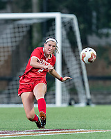 NEWTON, MA - AUGUST 29: Ashley Buck #2 of Boston University clears the ball during a game between Boston University and Boston College at Newton Campus Field on August 29, 2019 in Newton, Massachusetts.