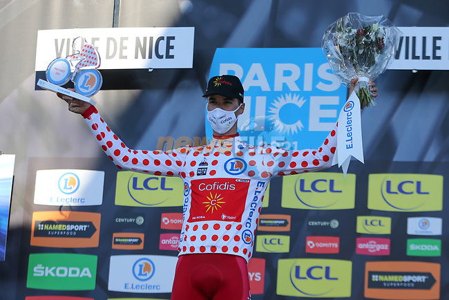 Anthony Perez (FRA) Cofidis wins the mountains Polka Dot Jersy classification at the end of Stage 8 of Paris-Nice 2021, running 92.7km from Le Plan-du-Var to Levens, France. 14th March 2021.<br /> Picture: ASO/Fabien Boukla | Cyclefile<br /> <br /> All photos usage must carry mandatory copyright credit (© Cyclefile | ASO/Fabien Boukla)