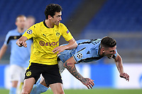 Thomas Delaney of Borussia Dortmund and Sergej Milinkovic-Savic of SS Lazio compete for the ball during the Champions League Group Stage F day 1 football match between SS Lazio and Borussia Dortmund at Olimpic stadium in Rome (Italy), October, 20th, 2020. Photo Andrea Staccioli / Insidefoto