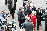 7/9/2010. Convention Centre opens. An Taoiseach Brian Cowen and Minister Mary Hanifin are pictured arriving at the official opening of the Dublin Convention Centre. Picture James Horan/Collins