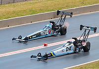 Jul 21, 2019; Morrison, CO, USA; NHRA top fuel driver Jordan Vandergriff (near) alongside Antron Brown during the Mile High Nationals at Bandimere Speedway. Mandatory Credit: Mark J. Rebilas-USA TODAY Sports
