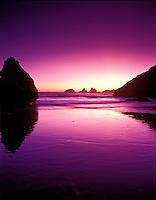 Purple sunset at Bandon Beach, Oregon