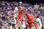 Real Madrid's Raphael Varane and Sevilla FC Steven N'Zonzi during La Liga match between Real Madrid and Sevilla FC at Santiago Bernabeu Stadium in Madrid, May 14, 2017. Spain.<br /> (ALTERPHOTOS/BorjaB.Hojas)