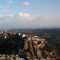 Here, a partial view of the small town of Sant'Oreste. The photo is taken from a high point on the hillside of the Monte Soratte, which muontaintop stands above it. This small town has a lot of history, since it is in a favourable defensive position, near to Rome, and this part of the Monte Soratte itself was used for the construction of a bunker, during the Second World War. This is an enlargement of a part of the original photo.<br /> <br /> You can download this file for (E&PU) only, but you can find in the collection the same one available instead for (Adv).